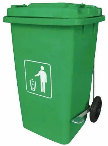 Green Plastic Wheel Dustbin