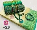 TUSSAR SILK SAREE WITH JWELLERY