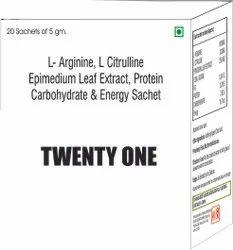 L Arginine, L Citrulline Epimedium Leaf Extract, Protein Carbohydrate & Energy Sachet
