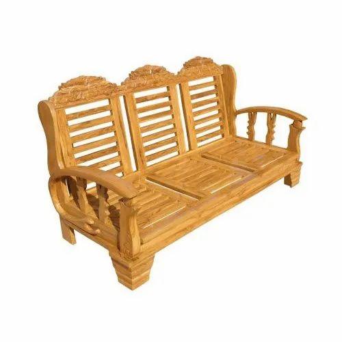 Brown Teak Fibre 3 Seater Designer Wooden Sofa 4 Inch Rs 18000 Piece Id 21094595373