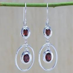 925 Sterling Silver Jewelry Garnet Gemstone Stone Earring