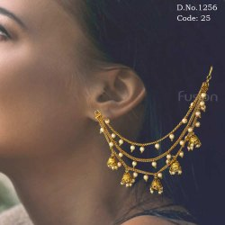Traditional Antique Pearl & Jhumka Ear Chain