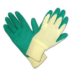 Green and White Rubber Coating Hand Glove