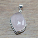 925 STERLING SILVER WHOLESALE JEWELRY ROSE QUARTZ GEMSTONE PENDANT WP-5554