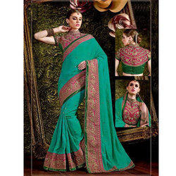 Turquoise Blue Silk Ladies Saree