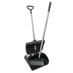 Black HDPE Plastic Closed Dustpan & Brush Set