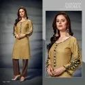 Silvenia-Libas Rayon With Printed Sleeves Pattern Stylish Kurtis