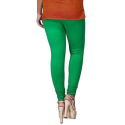 Sassy Curves Plain Green Cotton Lycra V-Cut Churidar Leggings
