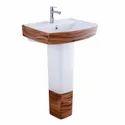 Arroz Ceramic Sanitary Ware Wash Basin With Pedestal, For Bathroom