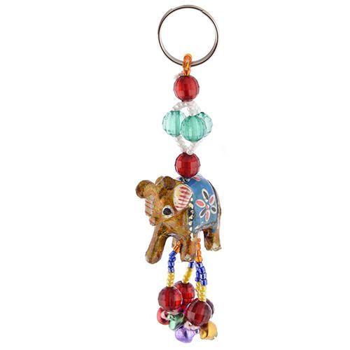 Fiber Elephant Meenakari Key Chain