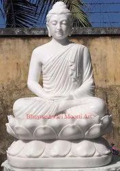 White Marble Buddha Statue On Lotus Size 48