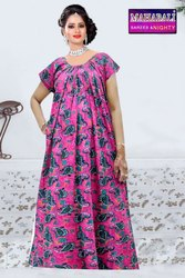 Full Length Printed Ladies Mahabali Half Sleeves Cotton Night Dress