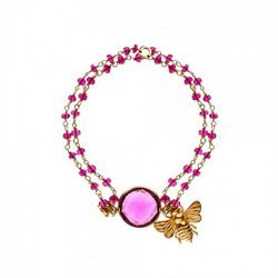 Pink Tourmaline Hydro Beaded Bee Charm Adjustable Gold Plated Bracelet Jewelry