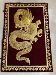 HH MAROON Embroidered Dragon Wall Hanging