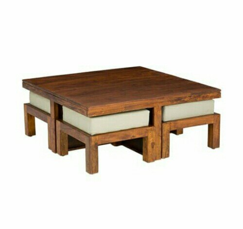 Teak Wood Brown Wooden Coffee Table, for Home