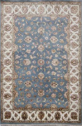 Persian Rectangular Light Blue Hand Made Wool and Silk Rugs
