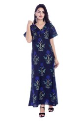 Handcraft-Palace  Women Cotton Night Dress/ Ladies Short Sleeve Nighty