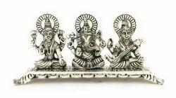 White Metal Laxmi Ganesha Saraswati Statue