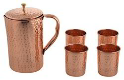 Copper Hammered Jar And Glass, 5 Pieces, Gold