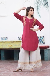 Cotton 3/4th Sleeve Printed Kurtis, Size: S, M & L