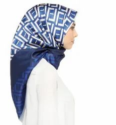 Printed Square Satin Silk Scarf Hijab For Women