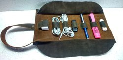 Buffalo Leather Electronic Accessories Roll