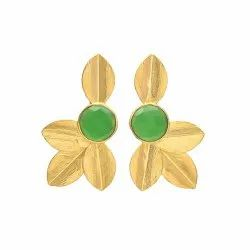 Gold Leaf Green Onyx Earring
