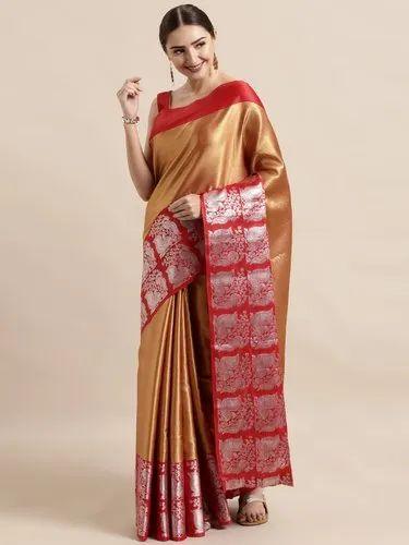 Kanchipuram Kora Muslin Weaves Pure Silk Saree With Blouse Piece