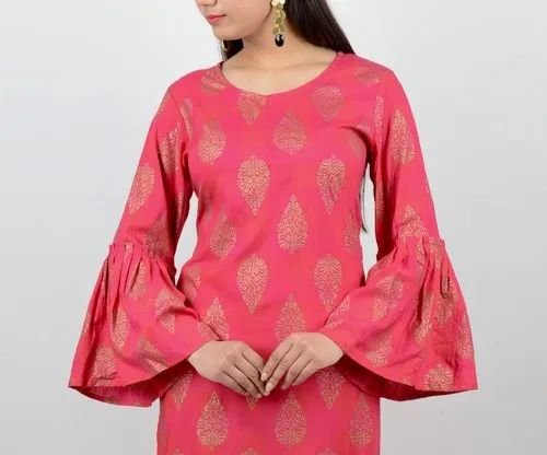 Rayon Gold Print Straight Kurta With Bell Sleeves