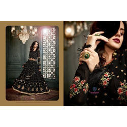 Black Embroidered Designer Anarkali Suit