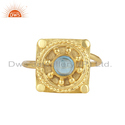 Yellow Gold Plated Sterling Silver Blue Topaz Gemstone Ring Jewelry