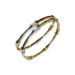 Precious Gemstone Bangle Pair Designer Channel Setting