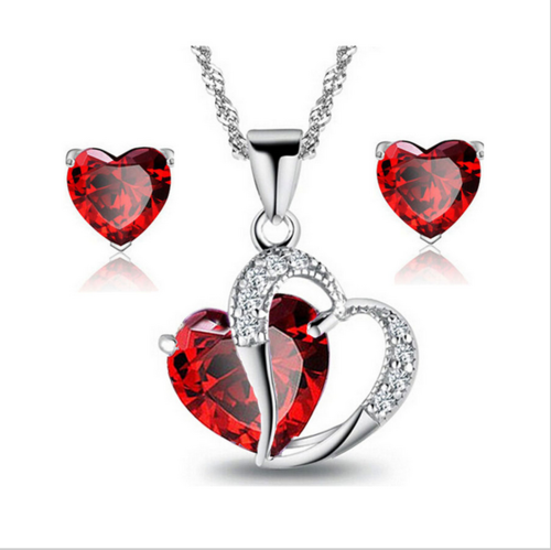 siam etsy swarovski il elements heart pendant crystal necklace red market