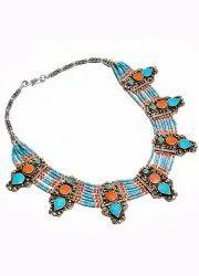 Blue Gemstone Style Turquoise And Lapis Lazuli Necklace, Packaging Type: Box