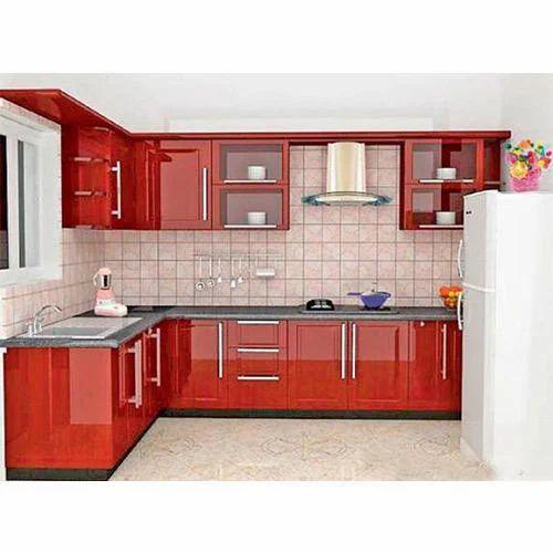 Red L Shape Modular Kitchen At Rs 1100 Square Feet L Shape