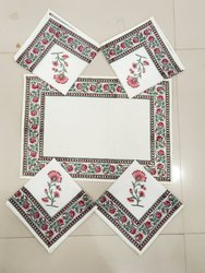 Printed White Soft Cotton Table Cloth Napkin 6 Pieces Set With Block Print, For Home, Size: 16 X 16 Inches