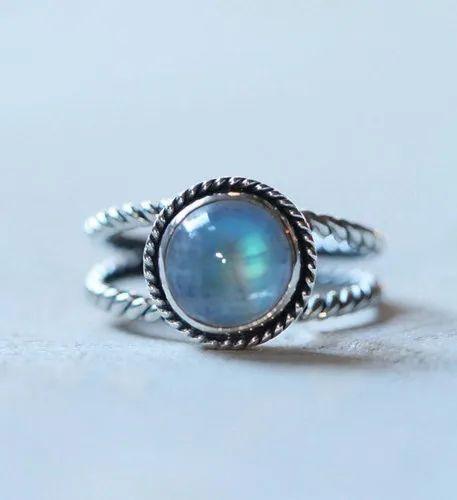 Boho, Moonstone Silver Ring