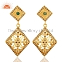 Designer Silver Emerald Gemstone Diamond Set Earrings