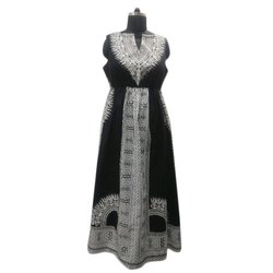 Cotton Sleeveless African Printed Black And White Long Dress