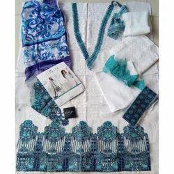 Ladies Cotton Lace Work Designer Suit