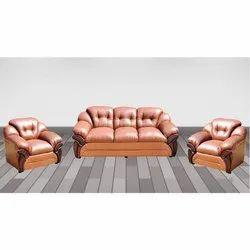 Leather Wooden Sofa Set