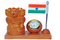Kadam Wood Ashoka Stambh with Flag & Clock