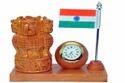 Kadam Wood Ashoka Stambh with Flag & Clock