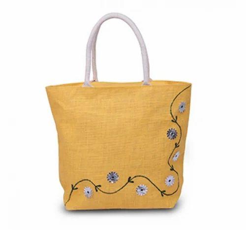 c9430c0f685d KBK Handled Jute Fancy Tote Bag