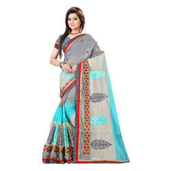 Printed Wedding Wear Silk Cotton Saree, With Blouse Piece