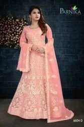 Heavy Embroidery Designer Net Gown With Dupatta By Parvati Fabric