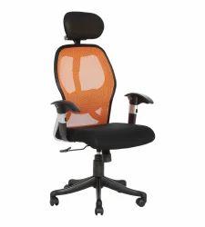 Orange And Black Executive Mesh Chair (Groma Hb) (VJ-559)