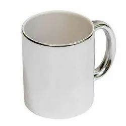 Giftec Creations Ceramic Silver Line White Blank Sublimation Mug for Gifting Purpose