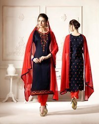 Cotton Casual Wear Embroidered Salwar Suit
