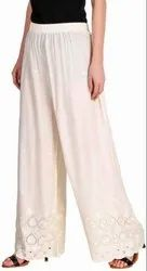 Regular Fit Women Chikan Embroidery Palazzo Pants